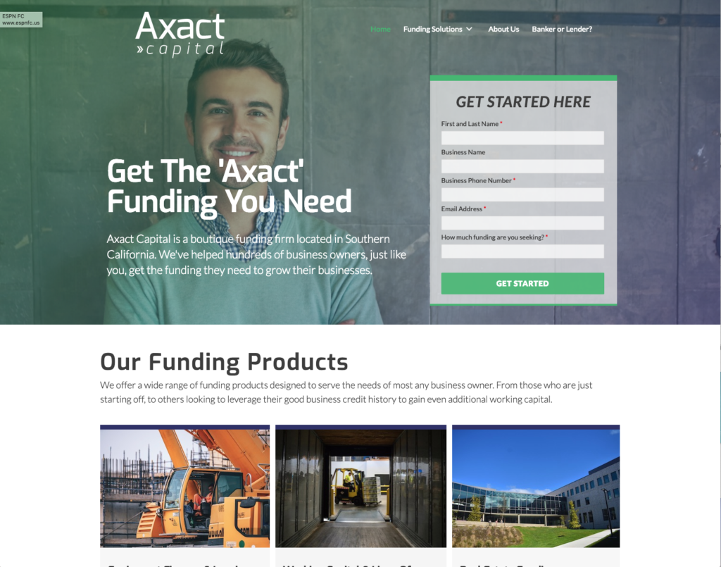Axact Capital Home Page design by Justin Powell